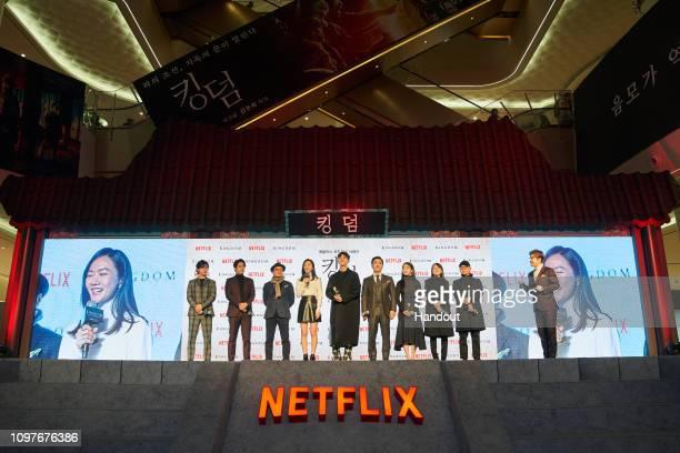 Kim Seonggyu Jeon Seokho Kim Sangho Bae Doona Ju Jihoon Ryu Seungyong Kim Hyejun and Writer Kim Eunhee Director Kim Seonghun attends the Netflix...