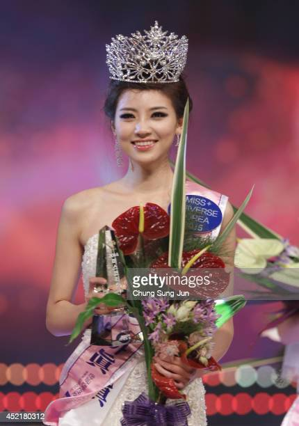 Kim SeoYeon 22 poses after winning the 2014 Miss Korea Beauty Pageant at Olympic Hall on July 15 2014 in Seoul South Korea Miss Korea will go on to...