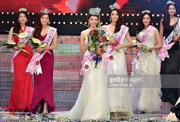 Kim SeoYeon poses after winning the 2014 Miss Korea pageant in Seoul on July 15 2014 The 22yearold university student Kim SeoYeon beat 48 other...
