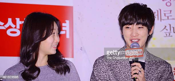 Kim SeulGi and Jung JinYoung attend the movie 'Miss Granny' press conference at Wangsimni CGV on January 6 2014 in Seoul South Korea