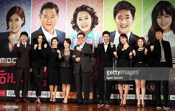 Kim SeungSoo Han GoEun Yoo HoJeong Cha HwaYeon Park KeunHyung Lee SangYeob Hong SooHyun Shin DaEun and Seo JiSuk attend the MBC Drama 'Will You Love...