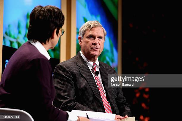 Kim Severson and US Secretary of Agriculture Tom Vilsack speaks onstage at Eight Years Later panel during The New York Times Food For Tomorrow...