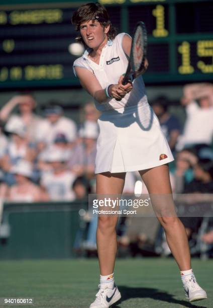 Kim Shaefer of the USA in action against Jo Durie of Great Britain in their Women's Singles First Round match during the Wimbledon Lawn Tennis...