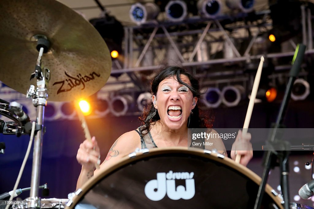 Kim Shifino of Matt & Kim performs in concert during day 3 of the 2013 Bonnaroo Music & Arts Festival on June 15, 2013 in Manchester, Tennessee.