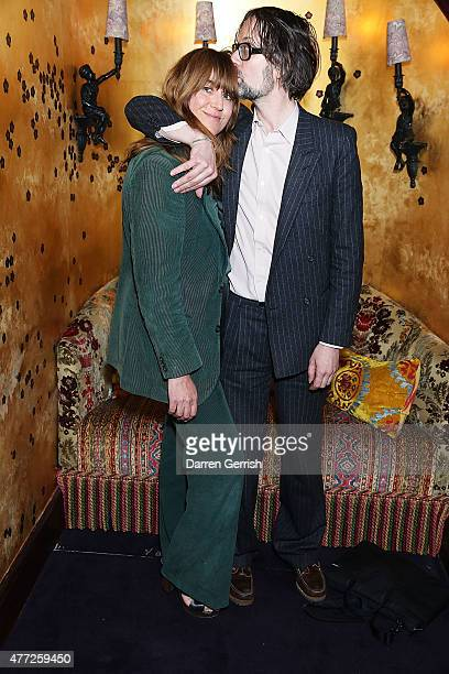 Kim Sion and Jarvis Cocker attend Anotherman 10th anniversary party at Lou Lou's 5 Hertford Street Mayfair on June 15 2015 in London England