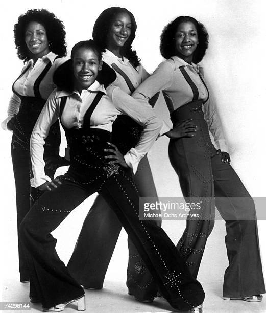 Kim Sledge Kathy Sledge Debbie Sledge and Joni Sledge of the vocal group Sister Sledge pose for a portrait in circa 1973