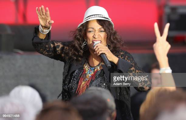 Kim Sledge of Sister Sledge performs during Classic Open Air at Gendarmenmarkt on July 9 2018 in Berlin Germany