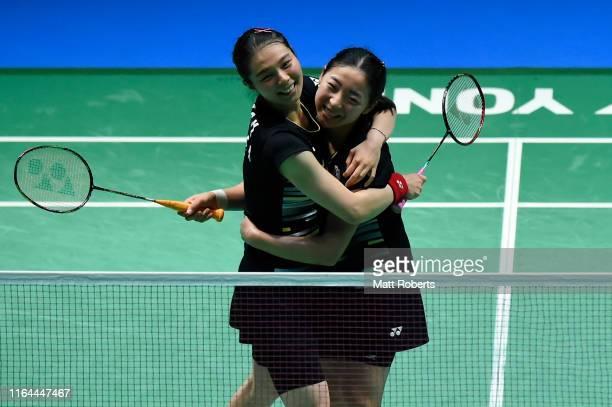 Kim So Yeong and Kong Hee Yong of South Korea celebrate in the Women's Doubles semifinal match after defeating Li Wen Mei and Zheng Yu of China on...