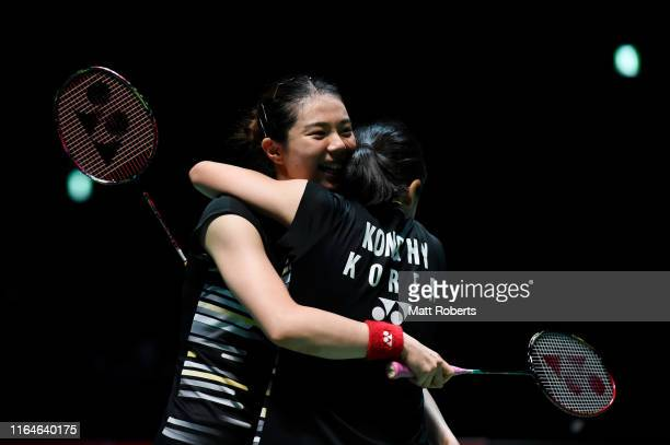 Kim So Yeong and Kong Hee Yong of South Korea celebrate in the Women's Doubles Final match after defeating Mayu Matsumoto and Wakana Nagahara of...