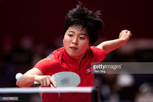 Kim Song I of DPR Korea in action during Women's Table Tennis Team Final between DPR Korea and China on day ten of the Asian Games on August 28 2018...