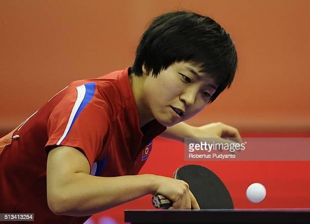 Kim Song I of Korea DPR competes against Samara Elizabeta of Romania during the 2016 World Table Tennis Championship Women's Team Division round 16...
