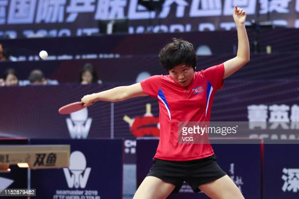 Kim Song I of North Korea competes in the Women's Singles Round of 16 match against Chen Meng of China during day four of the Seamaster 2019 ITTF...