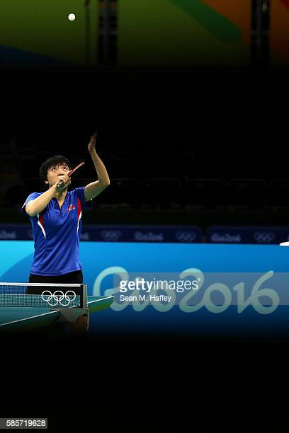 Kim Song of Team North Korea practices table tennis at Riocentro Pavilion 3 on August 3 2016 in Rio de Janeiro Brazil