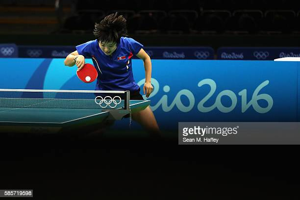 Kim Song of Team North Korea practices table tennis before the start of the Summer Olympic Games at Riocentro Pavilion 3 on August 3 2016 in Rio de...