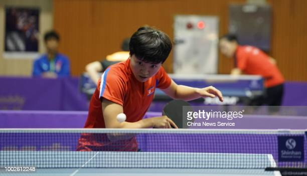 Kim Songi of North Korea competes in the Women's Singles qualifying match against Choi Haeeun of South Korea during the 2018 ITTF World Tour Korea...