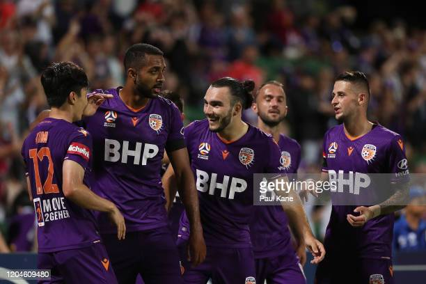 Kim SooBeom and Nick D'Agostino of the Glory celebrate a goal during the round 18 ALeague match between the Perth Glory and the Wellington Phoenix at...