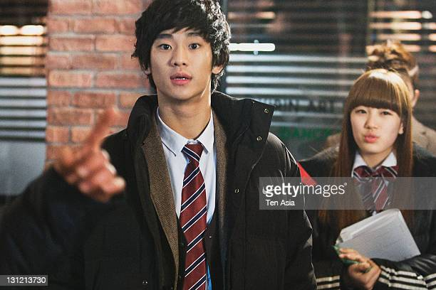 Kim SooHyun and SuZy are seen during the KBS 2TV Drama 'Dream High' filming on January 25 2011 in Gyeonggido South Korea