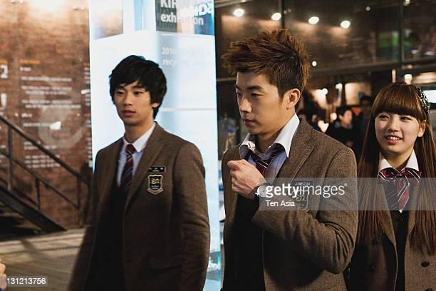 Kim SooHyun WooYoung and SuZy are seen during the KBS 2TV Drama 'Dream High' filming on January 25 2011 in Gyeonggido South Korea