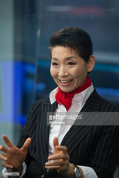 Kim Sung Joo chairwoman and founder of Sungjoo Group gestures as she speaks during an interview in Seoul South Korea on Thursday Nov 15 2012 Kim who...