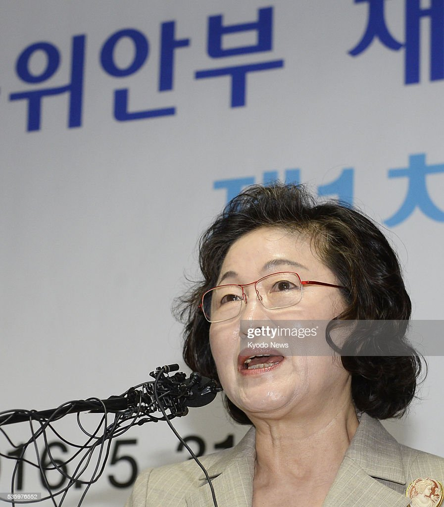 Kim Tae Hyun, head of a preparation committee to work for the establishment of a foundation tasked with helping improve the lives of former Korean comfort women who were forced into wartime brothels for the Japanese military, speaks at a press conference in Seoul on May 31, 2016, after the panel's first meeting.