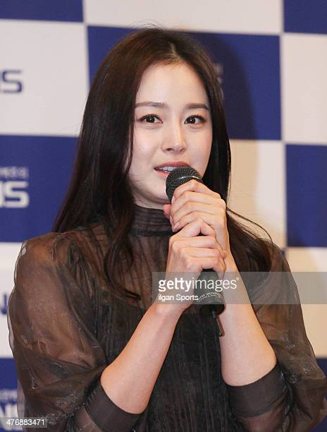 Kim Tae-Hee attends the Kyunghyang Housing Fair 'PNS The Zone Shashi' presentation at KINTEX on February 21, 2014 in Goyang, South Korea.