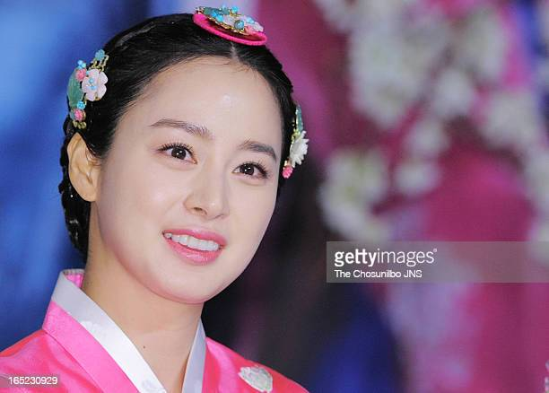 Kim TaeHee attends the SBS Drama 'Jang OkJeong' press conference at the MVL Kintex on April 1 2013 in Goyang South Korea