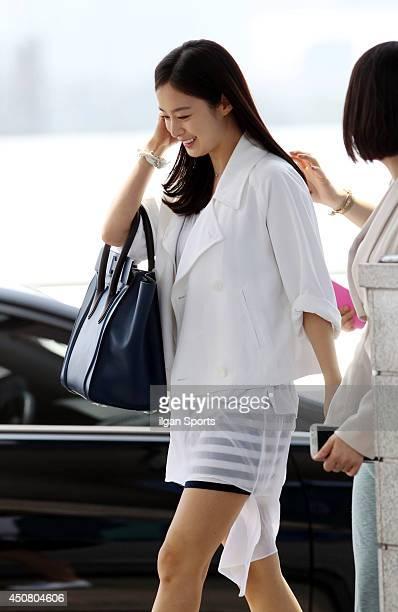Kim TaeHee is seen at Incheon International Airport on June 14 2014 in Incheon South Korea
