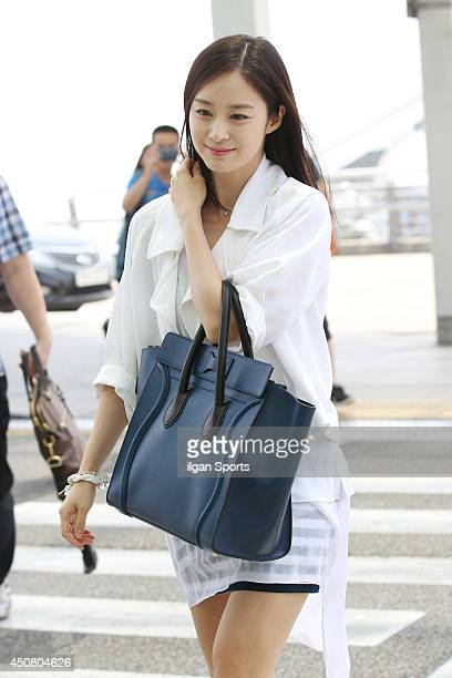 Kim TaeHee is seen at Incheon International Airport on June 14 2014 in Incheon South Korea