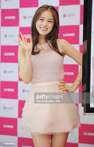 Kim TaeHee poses during the autograph session collaboration with LG Dios at LG Bestshop on November 23 2012 in Seoul South Korea