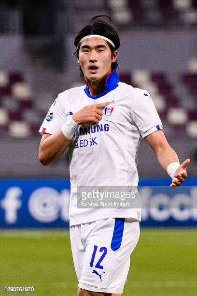 Kim Taehwan of Suwon Samsung celebrates his goal during the AFC Champions League Round of 16 match between Yokohama F.Marinos and Suwon Samsung...