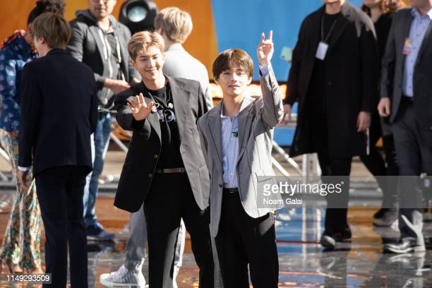 Kim Taehyung and Jungkook of BTS perform on Good Morning America on May 15 2019 in New York City