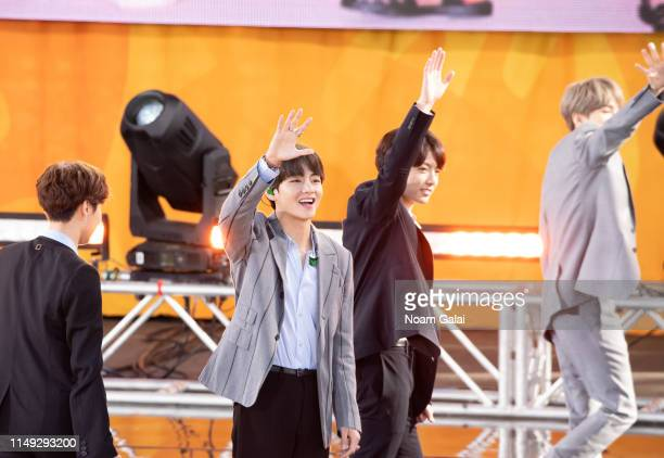Kim Taehyung and RM of BTS perform on Good Morning America on May 15 2019 in New York City