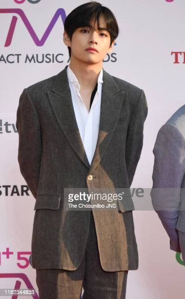 Kim TaeHyung member of BTS attends 'The Fact Music Awards' held at Namdong Gymnasium in southeastern Incheon on April 24 2019 in Incheon South Korea