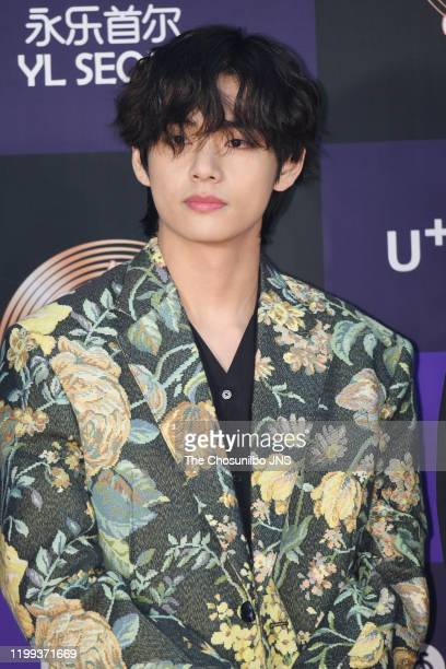 Kim TaeHyung of Bangtan Boys arrives at the photocall for the 34th Golden Disc Awards on January 05 2020 in Seoul South Korea