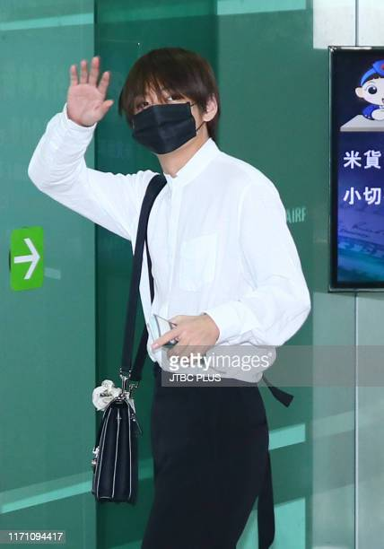 Kim TaeHyung of BTS is seen upon departure at Gimpo Airport to go to Osaka on July 04 2019 in Seoul South Korea