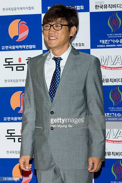 Kim TaeHyung of former boy band Sobangcha arrives the launch event of Popular Music Promotion Committee on September 12 2012 in Seoul South Korea