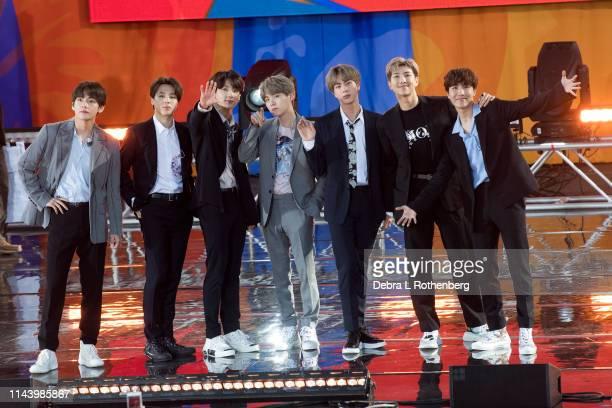 "Kim Tae-hyung, Park Ji-min, Jungkook, Suga, Kim Seok-jin, RM and J-Hope of BTS perform on ""Good Morning America's Summer Concert Series"" from Rumsey..."