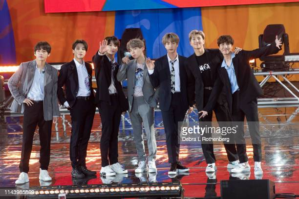 Kim Taehyung Park Jimin Jungkook Suga Kim Seokjin RM and JHope of BTS perform on Good Morning America's Summer Concert Series from Rumsey Playfield...
