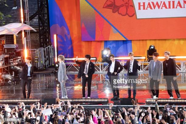 Kim Taehyung Park Jimin Jungkook Suga Kim Seokjin RM and JHope of BTS perform on Good Morning America on May 15 2019 in New York City