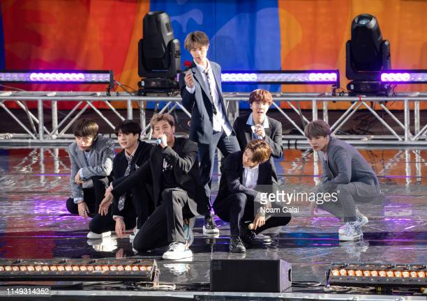 Kim Taehyung Park Jimin Jungkook Suga Kim Seokjin RM and JHope of BTS perform on Good Morning America on May 15 2019 in New York City