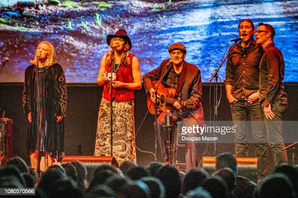 Kim Taylor Sally Taylor James Taylor Seth Larson and Josh Larson perform at the Massachusetts Museum of Contemporary Art Mass MoCA on December 9 2018...