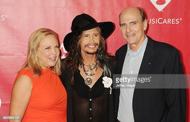 Kim Taylor singer Steven Tyler and singer James Taylor attend 2014 MusiCares Person Of The Year Honoring Carole King at Los Angeles Convention Center...