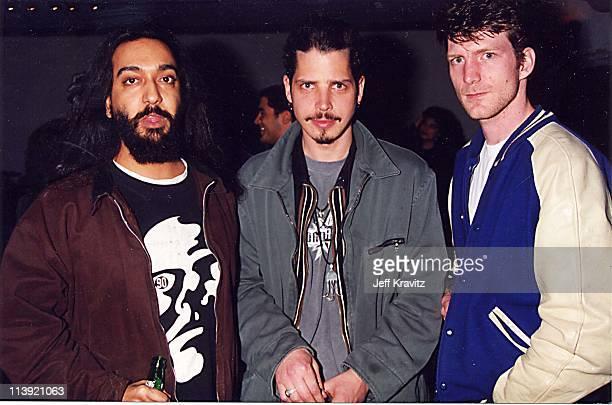 Kim Thayil Chris Cornell and Ben Shepherd of Soundgarden at MTV Rock the Vote '95 in Los Angeles CA