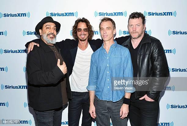Kim Thayil Chris Cornell Matt Cameron and Ben Shepherd of Soundgarden visit SiriusXM Studios on June 2 2014 in New York City