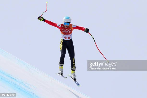 Kim Vanreusel of Belgium competes during the Ladies' Downhill on day 12 of the PyeongChang 2018 Winter Olympic Games at Jeongseon Alpine Centre on...