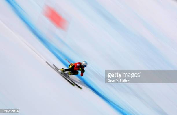 Kim Vanreusel of Belgium makes a run during Alpine Skiing Ladies' Downhill Training on day 10 of the PyeongChang 2018 Winter Olympic Games at...