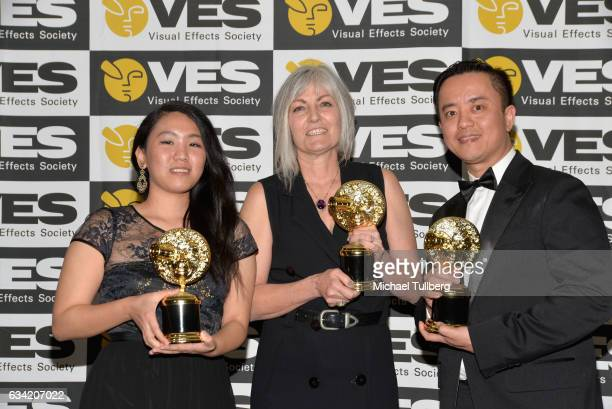 Kim Vongbunyong Jean Bolte and Kelvin Lau attend the 15th annual Visual Effects Society Awards at The Beverly Hilton Hotel on February 7 2017 in...