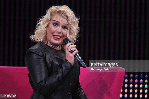 Kim Wilde grimaces as she delivers a speech during the Rose d'Or television festival award ceremony held at the KKL on May 10 2012 in Lucerne...