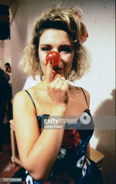 Kim Wilde wears the Red Nose of 1989 during filming of The Last Waltz a specially scripted sketch by Carla Lane shown on the Night of TV also...