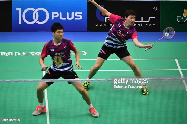 Kim Won Ho and Seung Jae Seo of Korea compete against Kittinupong Kedren and Dechapol Puavaranukroh of Thailand during Men's Team Quarterfinal match...